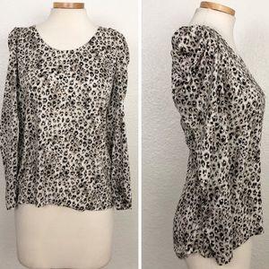 Ann Taylor Cheetah Puff Long Sleeve Blouse